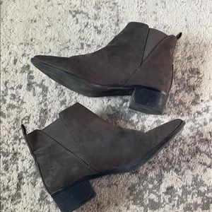 Gray Suede Pointy Toe Bootie
